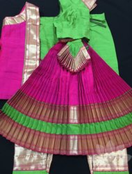 "Parrot green with pink costume available sizes are pant ht 32"" to 40"" totally 12 costumes are available"